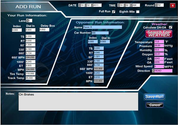RaceWORKS drag racing software